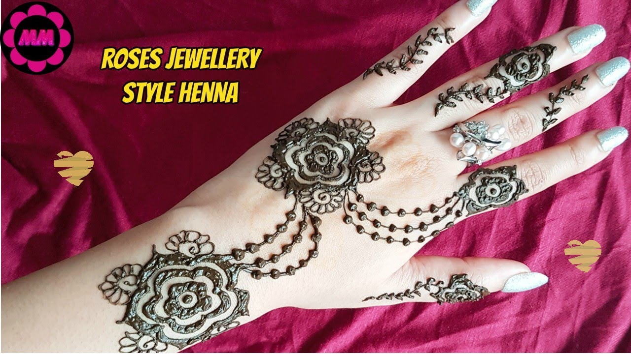 Roses Jewellery Henna Design Simple Stylish Mehendi For Eid Weddings