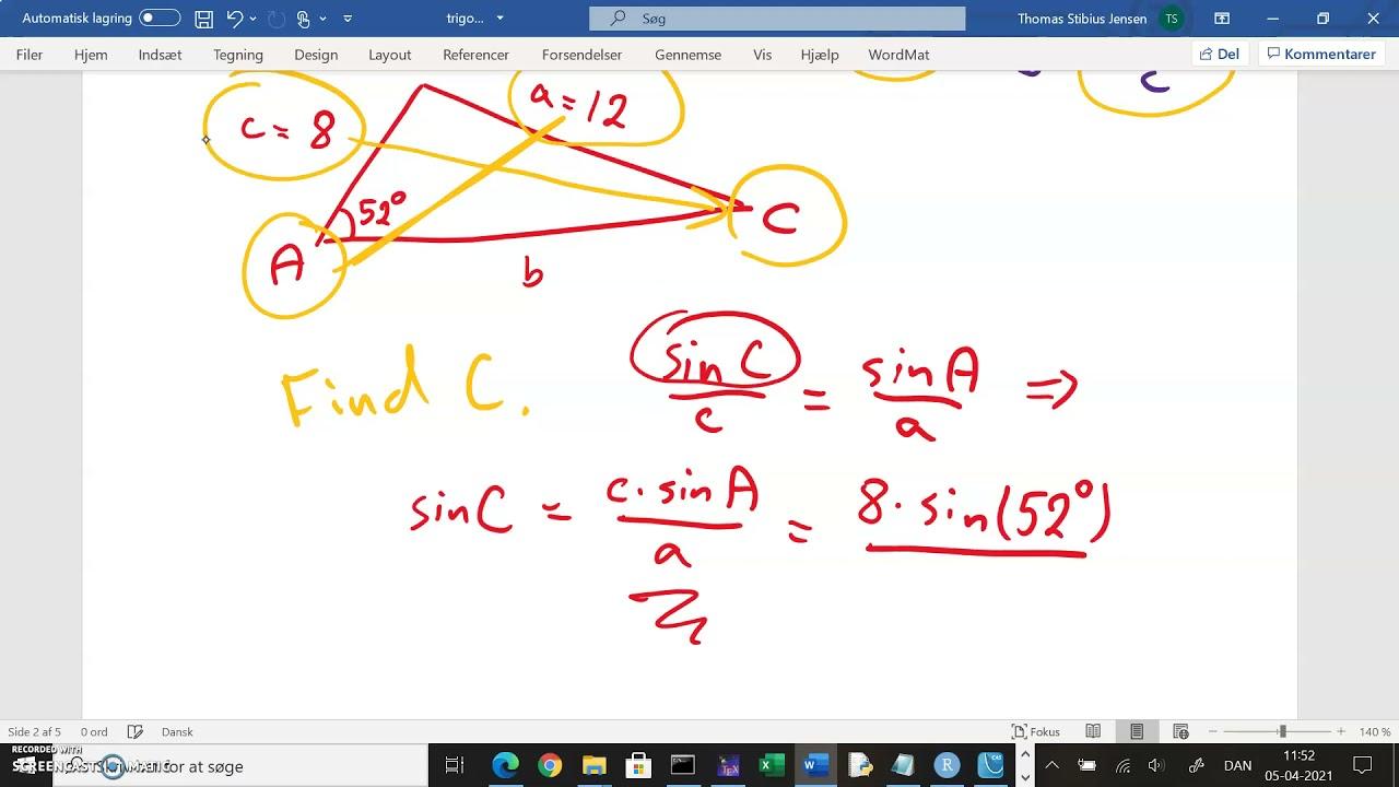 1k 2020 21 v77 sinusrelation eksempel beregning af vinkel