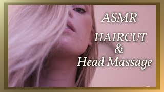 ASMR RELAXING HAIRCUT AND HEAD MASSAGE ROLE PLAY WHISPER