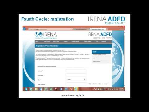 IRENA-ADFD Project Facility  Webinar for Applicants in French,  4th cycle