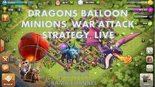 Clash Of Clans TH 7- Dragons, Balloons and Minions War Attack Strategy - LIVE