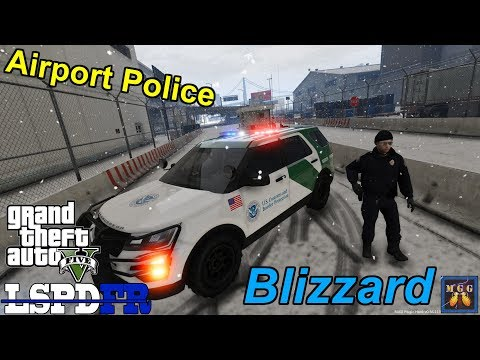 Airport Police Patrol During a Blizzard GTA 5 LSPDFR Episode 185