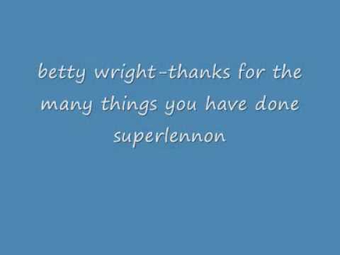 betty wright thank you for the many things you have done