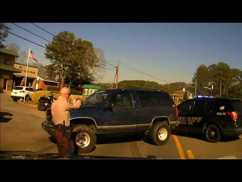 Dashcam Video Pickens County Sheriff's office Pursuit of wanted felon ends  with successful PIT
