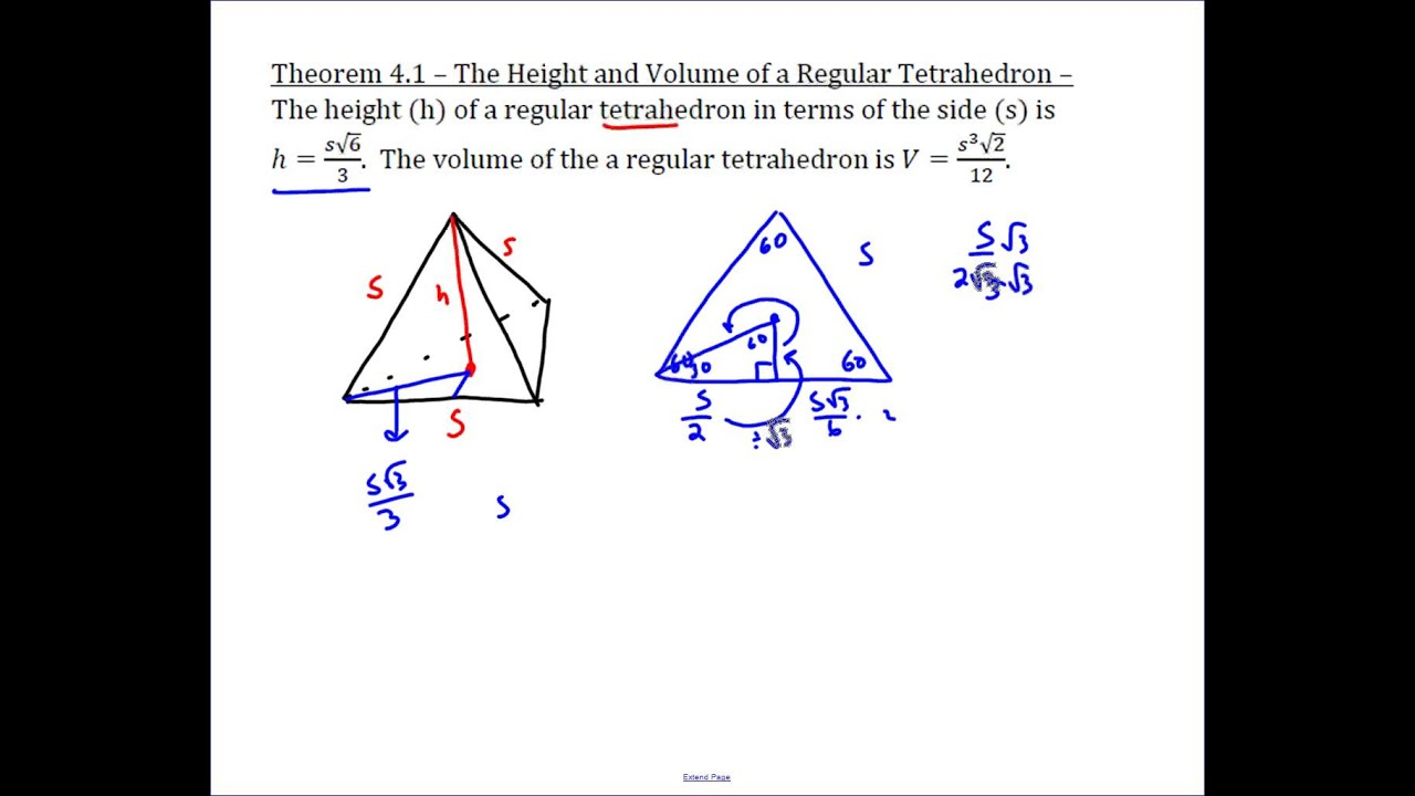 Height And Volume Of A Regular Tetrahedron