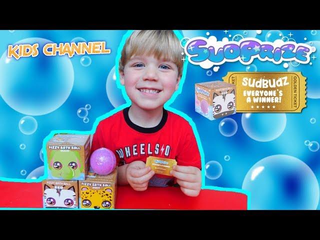 KIDS' Sudprize Sudbudz Bath Bombs!!! GOLDEN TICKET YouTube Kids Channel