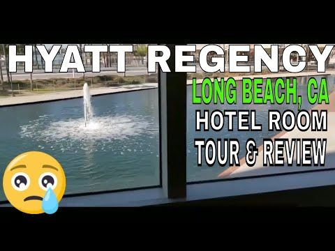 HYATT REGENCY LONG BEACH, CA HOTEL ROOM REVIEW WALK THRU KING BED ROOM TOUR OF CALIFORNIA HOTELS