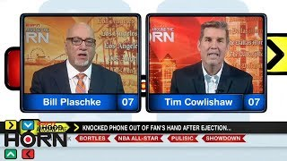 Should Rodney Hood have tossed that fan's phone after his ejection? | Around The Horn | ESPN