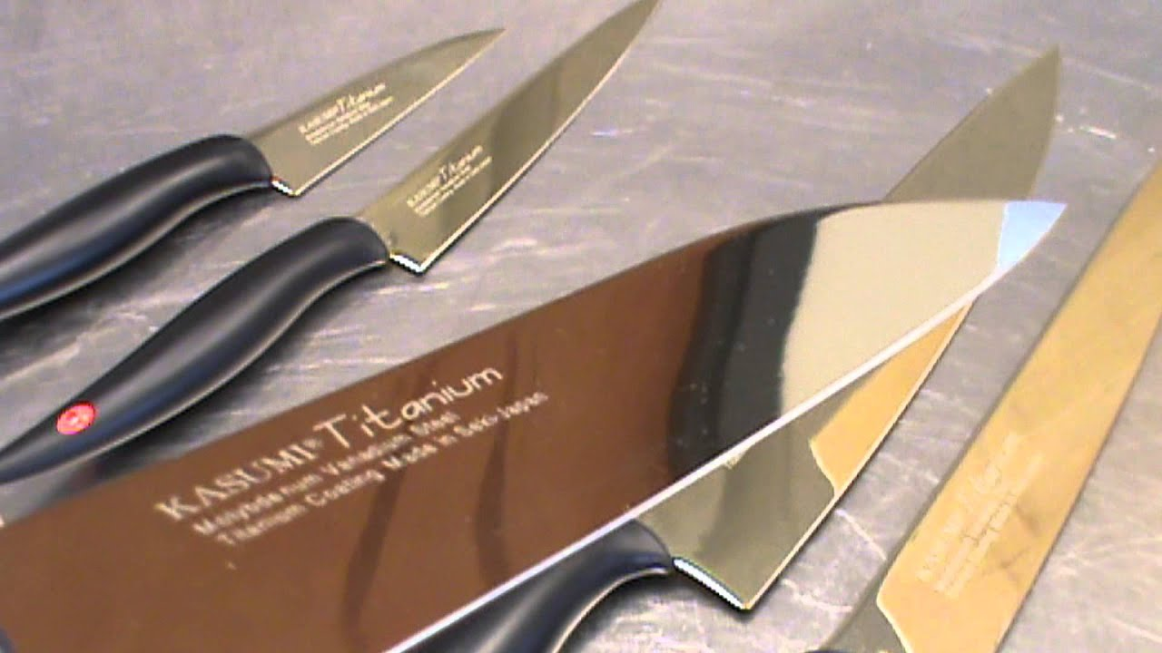 Titanium Gold Knives   YouTube