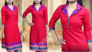 Ladies Coat Collar Kurti Cutting  and Stitching  in professional style |  2020 : stylen