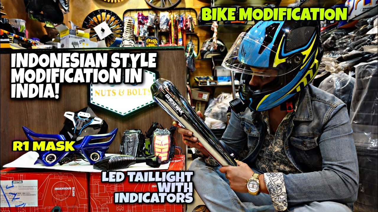 Indonesian style modification in India 🔥 || Guwahati || R1 mask for R15v3 || LED lights || Exhausts