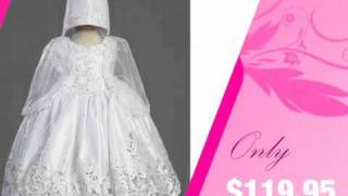 Embroidered Satin Christening Gown with Cutwork