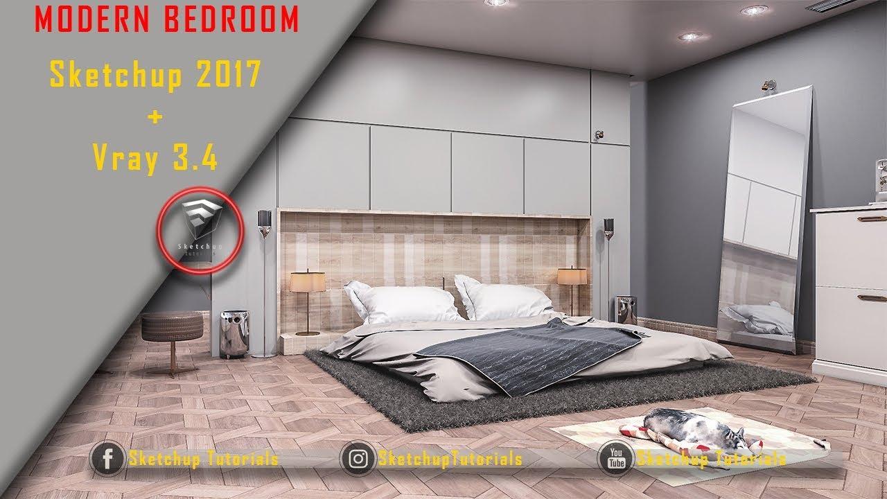 Realistic Modern Bedroom - Sketchup