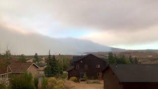 video: Watch: Wall of smoke engulfs California homes in Crowley Lake