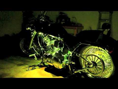 led kuryakyn lizard lights on custom harley davidson fatboy - youtube