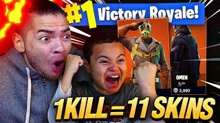 1 KILL = 11 FREE SKINS FOR MY 9 YEAR OLD LITTLE BROTHER! 9 YEAR OLD PLAY SOLO FORTNITE BATTLE ROYALE