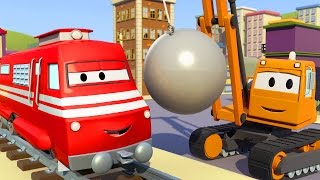 Troy The TRAIN and Dane the DEMOLITION CRANE in CAR City | CARS & TRUCKS CARTOON for children