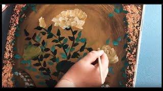 Как да използваме маслени бои! Урок 3 - златно фолио , момини сълзи и рози