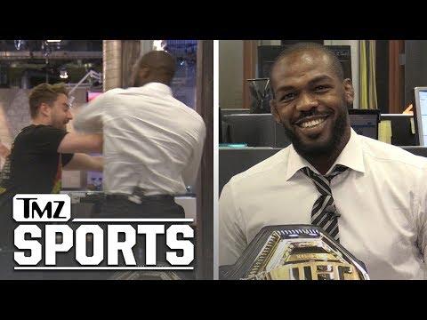 Jon Jones Talks DC, McGregor vs Khabib 2, and Tests Elbow on Staffer | TMZ SPORTS