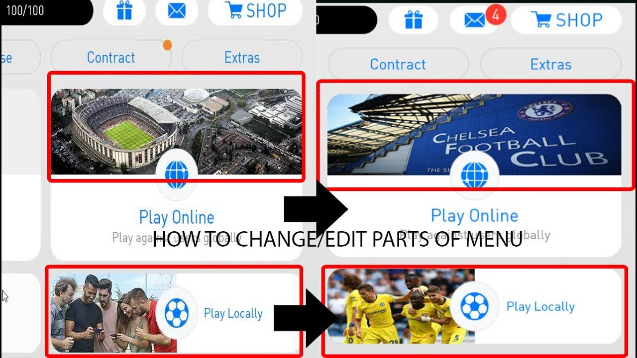 Pes 2018 Mobile - How to change/edit parts of menu - Full