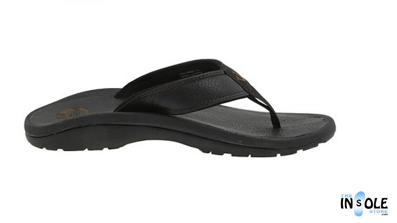 af156e04eb OluKai Ohana Leather Black Orthotic Sandals for Men   Women   TheInsoleStore.com