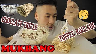 MUKBANG-CHOCOLATE TRIFLE AND TOFFEE & PECAN ROULADE-SUPER CREMY DESSERTS-BIG BITES