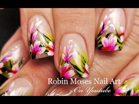 Tropical Nails Holo Glitter Hibiscus Nail Art Design Tutorial