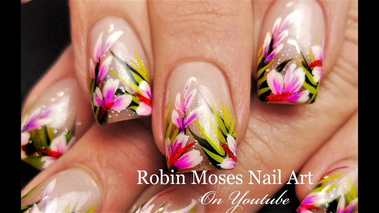 Tropical Nails Holo Glitter Hibiscus Nail Art Design Tutorial Youtube