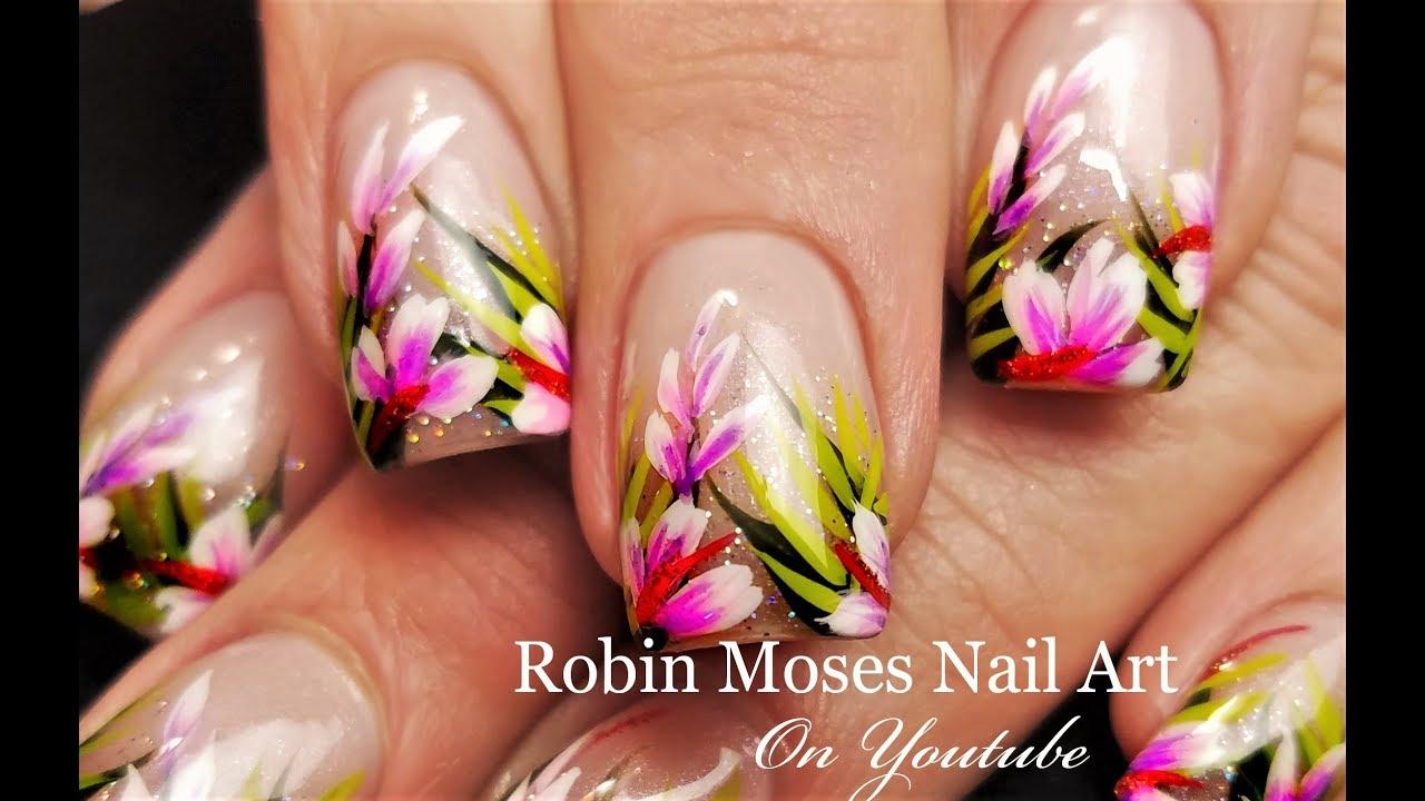 Tropical Nail Art Holo Glitter Pink Flower Nails Design Tutorial
