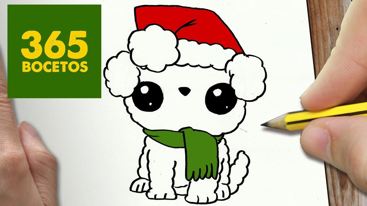 Como Dibujar Un Cuaderno Para Navidad Paso A Paso Dibujos: COMO DIBUJAR UN PERRO PARA NAVIDAD PASO A PASO: Dibujos
