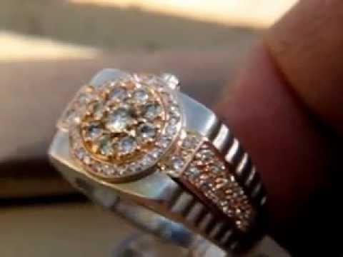 201Carat Diamond ROLEX Ring 18K White Amp Rose Gold Gents