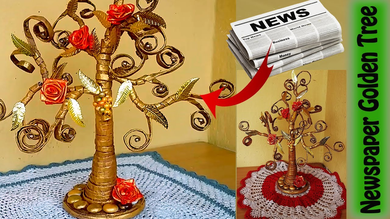 How to make beautiful golden tree with waste newspaper for Crafts made out of waste