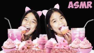 ASMR PINK FOOD [Ice Cream, Cupcakes, Donuts, Candy ...]   Tran Twins