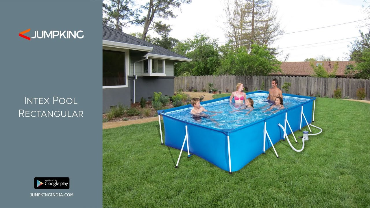 Intex Portable Prefab Above Ground Readymade Swimming Pool Rectangular Youtube
