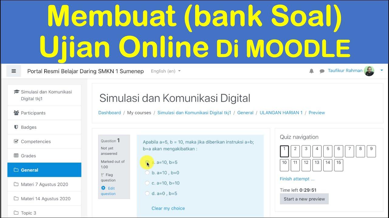 Cara Membuat Ujian Online Di Moodle Beserta Cara Membuat Bank Soal Youtube