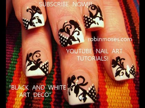 Black and white art deco nail art design tutorial youtube black and white art deco nail art design tutorial robin moses nail art prinsesfo Image collections