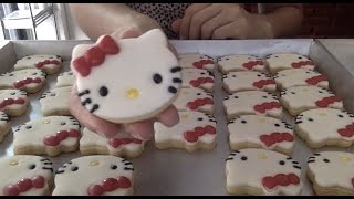 How to make HELLO KITTY marshmallows cookies step by step มาร์สแมลโล่ว์คุกกี้ คิตตี้