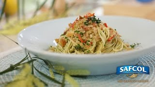 Angel Hair Pasta With Tuna And Pancetta Herb Crumb