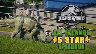 ALL ISLANDS 5 STAR SPEEDRUN CHALLENGE!  | JURASSIC WORLD EVOLUTION!