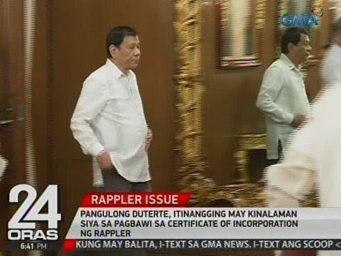 24 Oras: PDU30, itinangging may kinalaman siya sa pagbawi sa Certificate of Incorporation ng Rappler