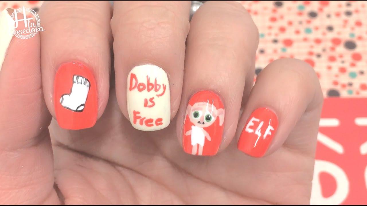 Dobby is free Nail art - decoración de uñas Harry Potter. - YouTube