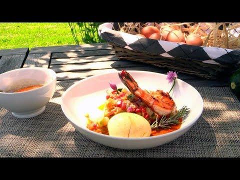 œuf-mollet-et-gambas,-ratatouille-au-fenouil-et-jambon-sec---cuisine-allégée