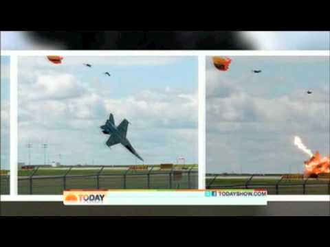 Pilot ejects from F-18 jet at the last second, just before crash
