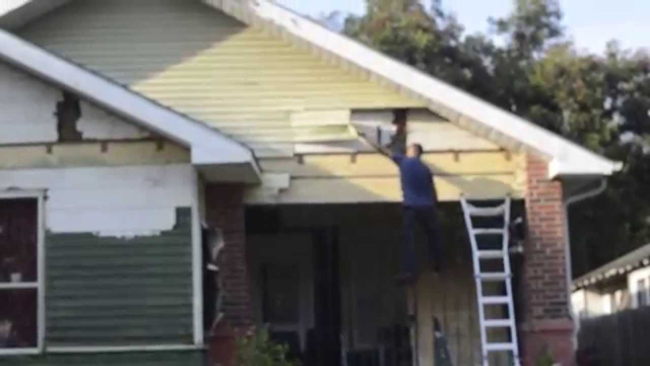 How to remove aluminum siding - Removing Aluminum From Front Gable Of 1917 Eastwood Bungalow In Houston