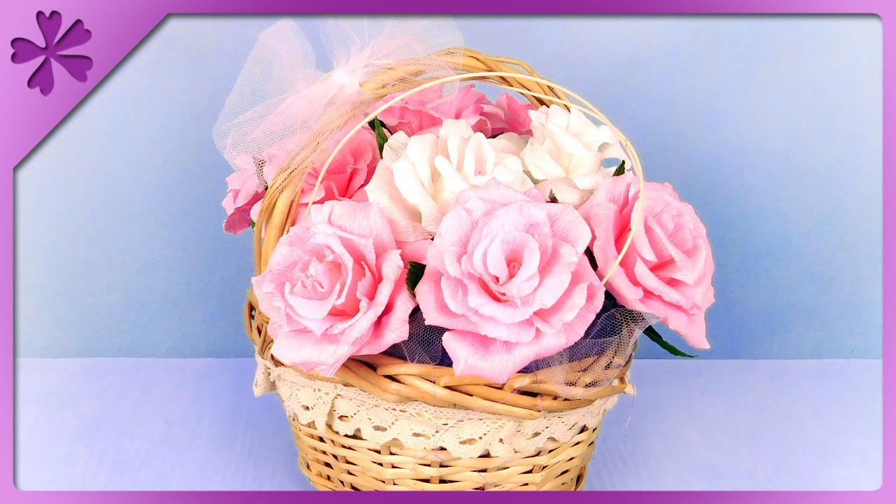 Diy how to make tissue paper roses and flower basket for wedding diy how to make tissue paper roses and flower basket for wedding eng subtitles speed up 373 mightylinksfo