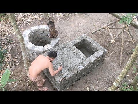 Primitive technology with survival skills build a water filter tank part 1