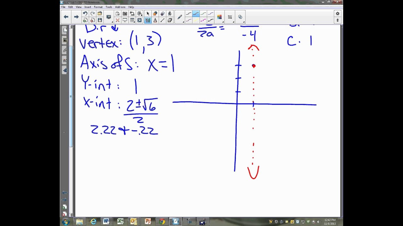 Worksheet Graphing Quadratic Functions In Vertex Form