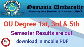 How to check OU Degree 1st,3rd & 5th semester Results  2018 - 19