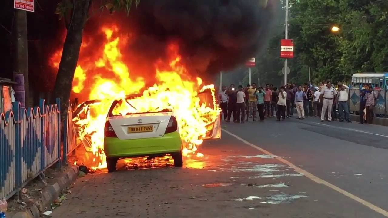 Image result for uber cab caught fire