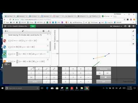 4 10 Sarah graph function  and table distance v  time part 2 Leave 15 min  later